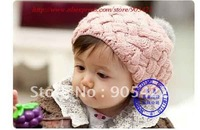 3pcs/lot free shipping Fashion Big flower Cotton children's baby hats MB013p