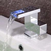 Faucetqing 0300138-2 Contemporary Color Changing LED Bathroom Sink Faucet (Waterfall)