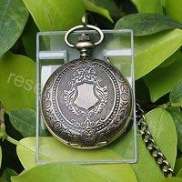 Bronze Tone Pattern Case Mechanical Men's Pocket Watch W/ Chain Nice Xmas Gift H042
