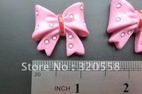 "1.3"" lovely 3D pink bow FlatBack Resins Scrapbooking Embellishment 30pcs Free Shipping"