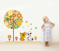 Removable Wall Stickers,Flowers & Dogs Home Decoration,50*70cm Wall Decals,JM8248