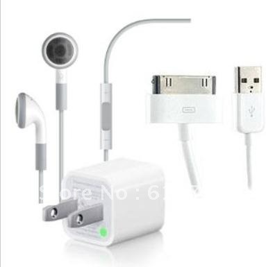 Earbuds, USB Data Charge Cable, & AC Power Adapter For Apple Accessory Kit(China (Mainland))