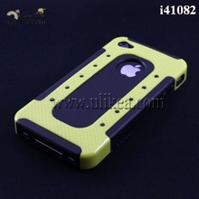 Cool Hybrid Case, for iphone 4S 2-piece Case, Hard Case for Apple iphone 4 & 4S & 4G, High Quality, Free Ship, 10pcs/lot(China (Mainland))