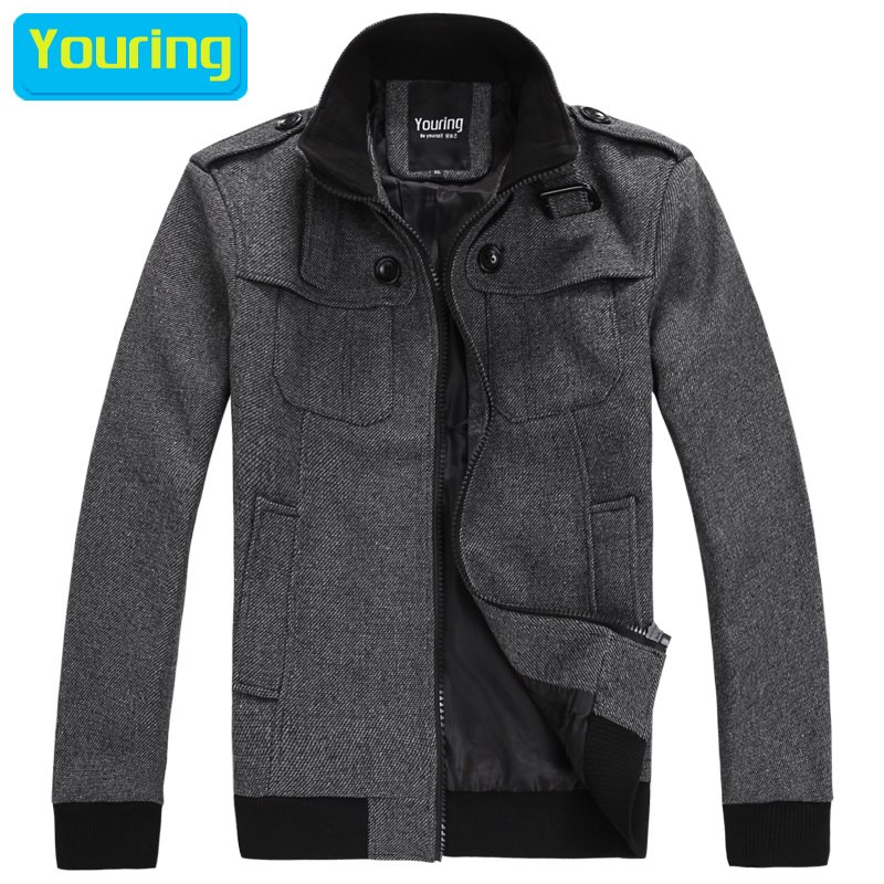 Youring autumn and winter male fashion woolen jacket Men slim short design thick woolen(China (Mainland))