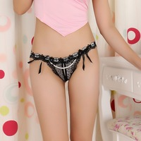Fashion NEW Temptation of pearl open file Thong Sexy panty transparent G-string, 5-color free shipping PG1025