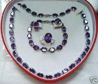18 k gold platedNobility Jewelry  Crystal Set Amethyst Necklace Earring Ring Bracelet