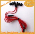 Hot selling Free shipping L-plug and straight head In-ear Headphone without controltalk hot selling plastic package 4 colors