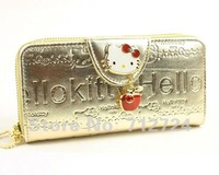 Free Shipping! Hello Kitty Fashion Ladies Gold Patent Leather ID Card Holder Coin Bag Long Wallet Purse hp85
