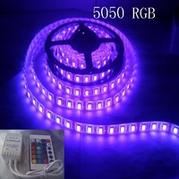 300 LED non waterproof 5050  LED RGB Strip Flexible Light ,60LED/m 5MSMD DC 12V + 24 keys IR remote controller