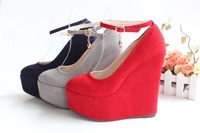 New Arrival Women Pumps Size3-12 Suede Ankle Strap High Platform Wedges Shoes High Heels Pumps suede black red purple gray