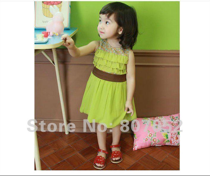 девушки/ребенок/дети платье марка детская одежда розовый/зеленый