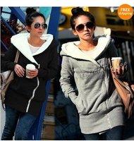 Free shipping Ladies Women Single Zipper Sweatshirt Hoodie Jacket TOP Coat Outerwear Size M L