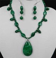 #0017 Lovely flower-shaped necklace earrings malachite