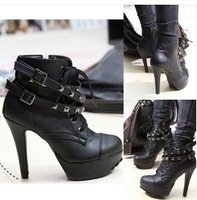 Free Shipping Hot Fashion Sexy Women PU 5 Sizes Black High heels rivet Martin motorcycle women waterproof Knights boots