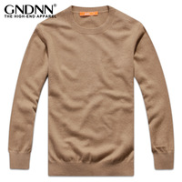 New arrival gndnn top super soft pure cashmere sweater male solid color all-match o-neck cashmere