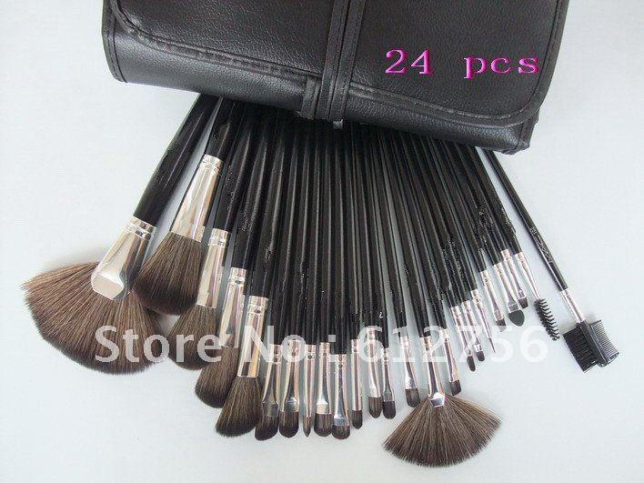 24PCS Cosmetic Makeup Make Up Brush Set + Black Leather Case, Free Shipping (1set)(China (Mainland))