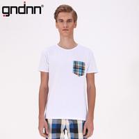 Big gndnn color block pocket male round neck T-shirt slim short-sleeve T-shirt male