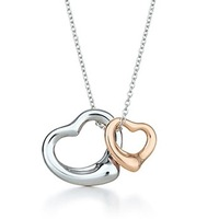 Most Celebrated Open Heart Pendant Necklace,in 925 Sterling Silver And 18K Rose Gold.Vintage Love Heart Necklace For Pretty Lady