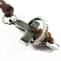 PL248/leather necklaces,high quality men retro cross necklace,fashion jewelry,100% genuine leather,handmade jewelry chain