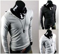 New t-shirt mens tops UK Style cotton blouse long sleeve leisure wear slim hooded jacket 2013 fashion male clothes