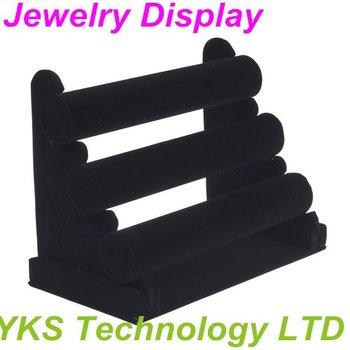 New Black 3-Tier Velvet Watch Bracelet Jewelry Display Holder Stand Rack