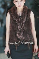 Factory direct  Knitted Genuine  Rabbit Fur Vest with tassels waistcoat lady vest //Wholesale drop sale