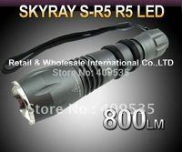 FREE SHIPPING,5PCS/LOT SKYRAY S-R5 Cree R5 800Lumens 5-Mode LED Flashlight Torch