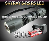 20sets,SKYRAY S-R5 Cree R5 800Lumens 5-Mode LED Flashlight Torch+2*3000mah 3.7V 18650 Battery+travel Charger