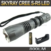 FREE SHIPPING,SKYRAY Cree R5 800Lumens 5-Mode LED Flashlight Torch+2*4000mah 18650 Battery+Travel Charger