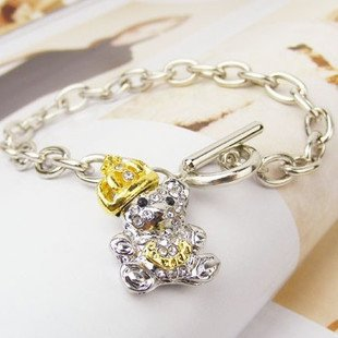 Free shipping, Min order is 15$(Mixed order)Hot-sale lovely alloy bear charm bracelet, Wholesale ashion jewelry, Factory direct