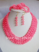 Free ship!!! WIRED pink jade flower NECKLACE bracelet earring set
