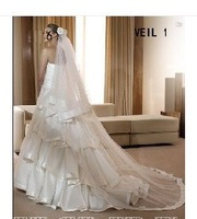 Free Comb White/Ivory Custom New Long Bridal Wedding Veil Handmade Flower Tulle