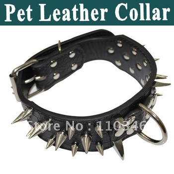 New Arrival !!! Leather Spikes Dog Collar/Pet leather collar Stylish and fashionable