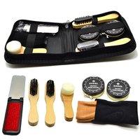 Shoe Care Kit Polish Brush Sponge Leather Shoes Cleanning Tools Wooden Brush for Travel HL0301
