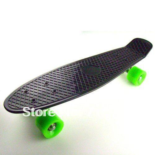 free shipping Retro Plastic Skateboard Black Complete Cruiser Banana Board 22 inch Penny long skateboard(China (Mainland))
