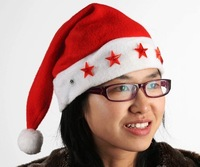 Free EMS ship LED Christmas hat / Shine Santa Claus hats Wholesale,led flash(Non-woven+LED light) christmas stanta's hat