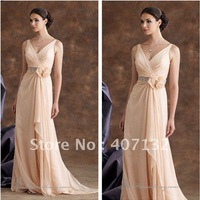 2013 Elegant V-neck Sleeveless Chiffon Empire Mother of the Bride Evening Formal Dresses