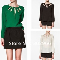 free shipping 2012 new arrive hot sale 3 color 6 size XS-XXL Women blouse fashion Long Sleeve Cutout chiffon shirt tops HY02