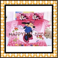 Mickey mouse Girls Pink Three-piece Cartoon Single Bedding Set Gift Wholesale Free Shipping