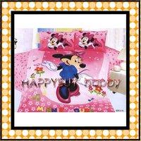 Mickey mouse Girls Pink Three-piece Cartoon Single Bedding Set Gift Wholesale Free Shipping