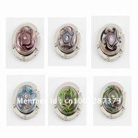 6pc Wholesale mix color Fashion gold dust leaf Flower Lampwork murano glass floding purse hook handbag holder bag hanger jewelry