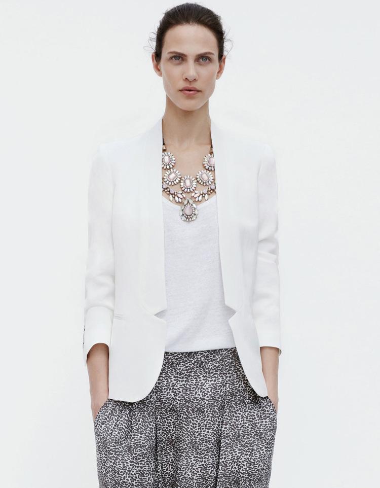 White Ladies Blazer Jacket | Fashion Ql