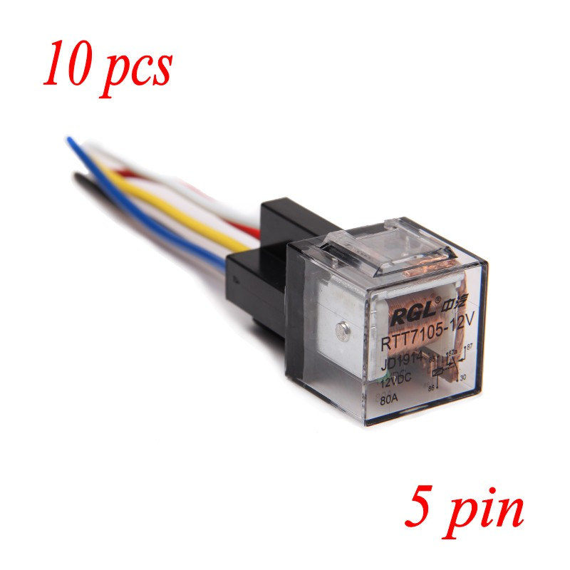In stock 10 PACK Car Auto 12V-A 12V Volt 60A 60AMP Relay & Socket Transparent 5Pin(China (Mainland))
