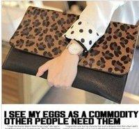 free shipping Leopard fur handbag envelope Wristlet Strap medium a Crossbody Bag