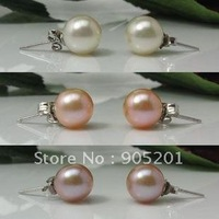 AAAA 8-9mm Cultured Freshwater Pearl 925 Sterling Silver Stud Earrings Beads (1 pairs)+Wholesale&Retail+Free Fast Shipping