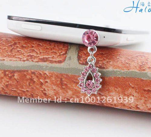 Free shipping 10pcs/lot Woman Earphone Dust Plug Rhinestone Metal Alloy Fashion Mobile Phone Jewelry Products Acessory IP155(China (Mainland))