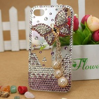 Free shipping /Rhinestone Crystal Diamond pearl Hard phone Case Cover for iphone4/4s,purple butterfly with chain and ball
