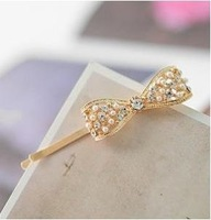 Fashion Korean Pearl Gold Bowknot Hair Accessories Barrettes A7R2 Free Shipping