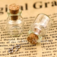 free shipping!!! 100pcs/lot Tall Glass Bottle Vials Charms Pendant With Cork and Eyehook 13*18*6mm