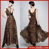 free shipping sale 2012 summer new women's sexy leopard V-neck  big swing silk chiffon dress for lady Dresses M L WC106